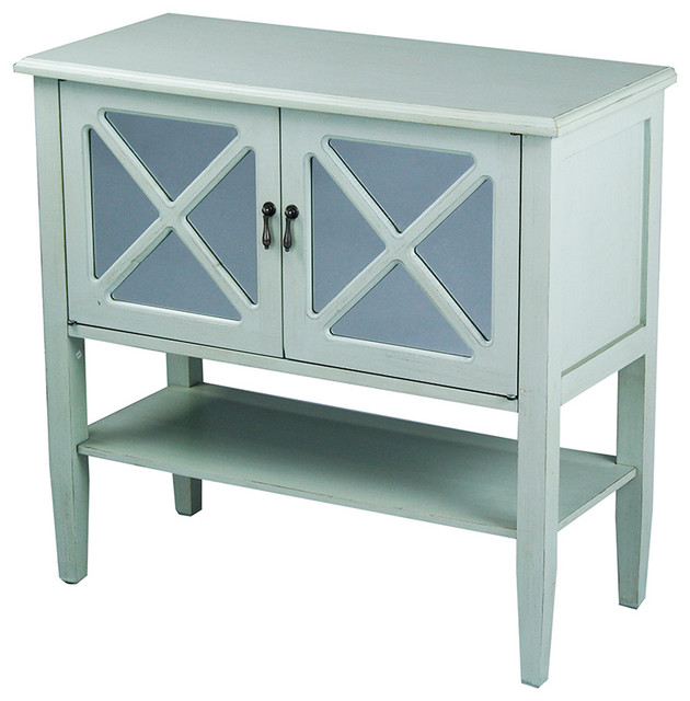 2-Door Console With Mirror Insert and Bottom Shelf, Seafoam Green