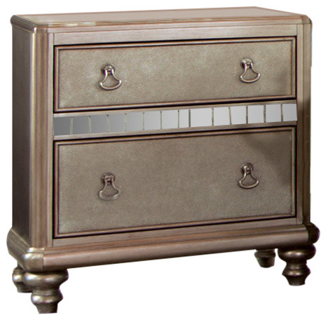 Coaster Nightstand, Metallic Platinum Finish 204182.