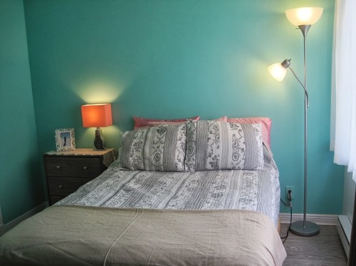 And maybe adding a headboard? Navy? Grey? Beige? Gold? Ivory? Wood?  Fabric??? - Finishing My Mint And Grey Bedroom
