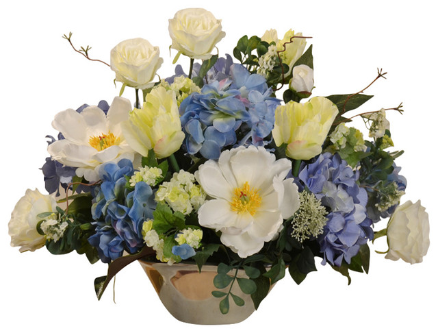 Silk Flower Arrangement In Silver Vase Blue And White Traditional Artificial Flower Arrangements By Floral Home Decor