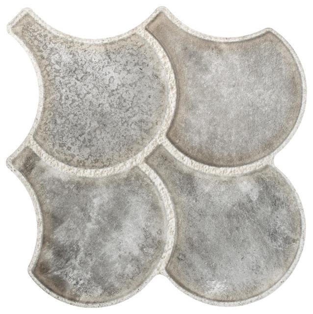 "14.5""x16.13"" Escala Granada Porcelain Floor/Wall Tile, Gray, Set of 14"