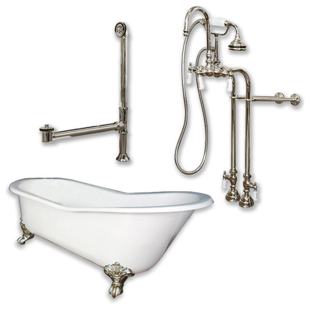 """Cast Iron Slipper Clawfoot Tub 67"""", Standing Faucet Shower Nickel Package."""