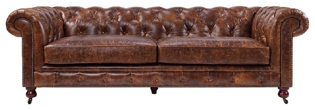 Kensington Chesterfield Tufted Sofa, Vintage Brown traditional-sofas