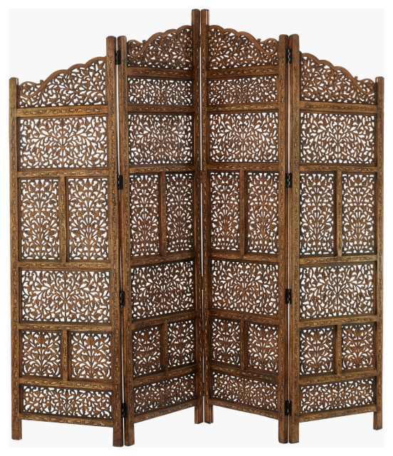 Large 4 Panel Brown Wood Screen Decorative Room Divider Traditional Screens And Room Dividers By Brimfield May