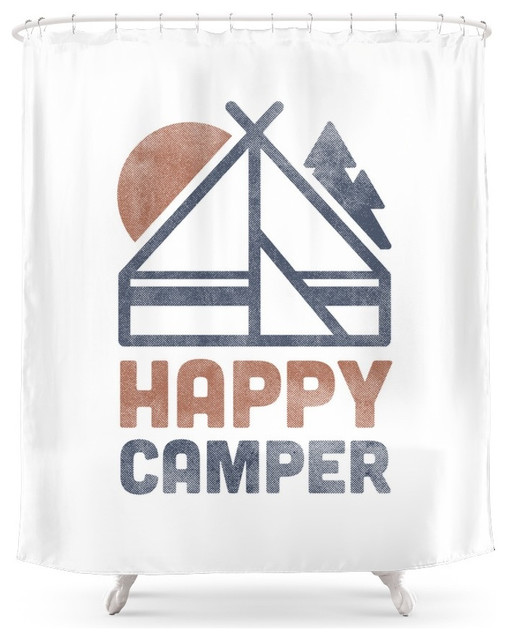 Society6 Happy Camper Shower Curtain Contemporary Shower Curtains