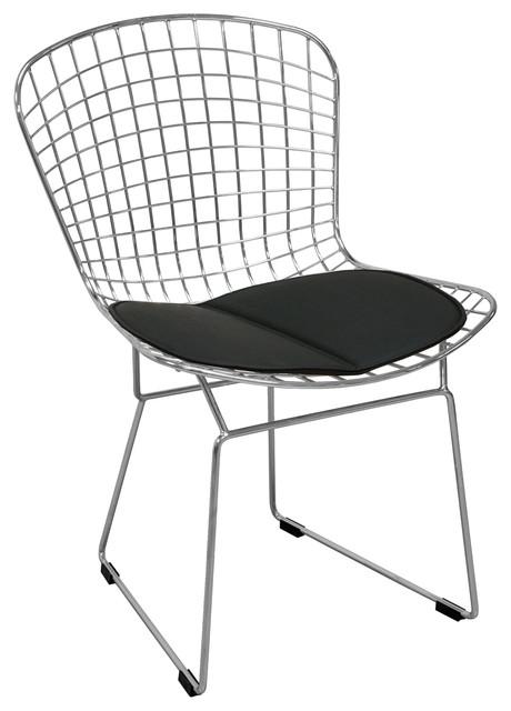 Miraculous Mid Century Modern Chrome Wire Dining Side Chair Black Creativecarmelina Interior Chair Design Creativecarmelinacom