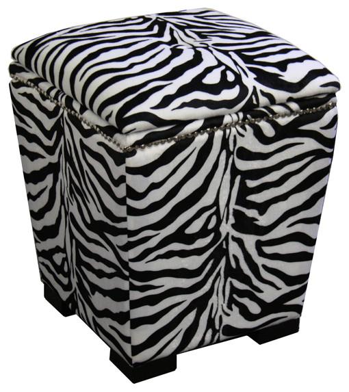 "19.5""H Zebra Storage Ottoman"