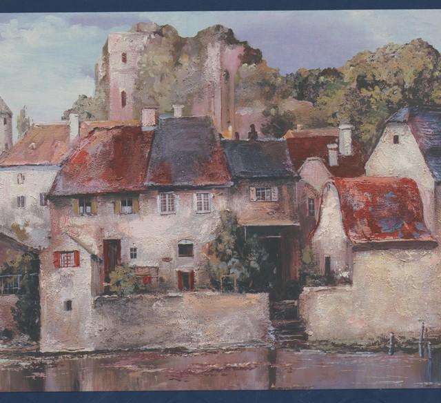 Vintage City by River Houses Castle Forest Blue Sky Retro Wallpaper Border - Farmhouse - Wallpaper - by Euro Home Decor