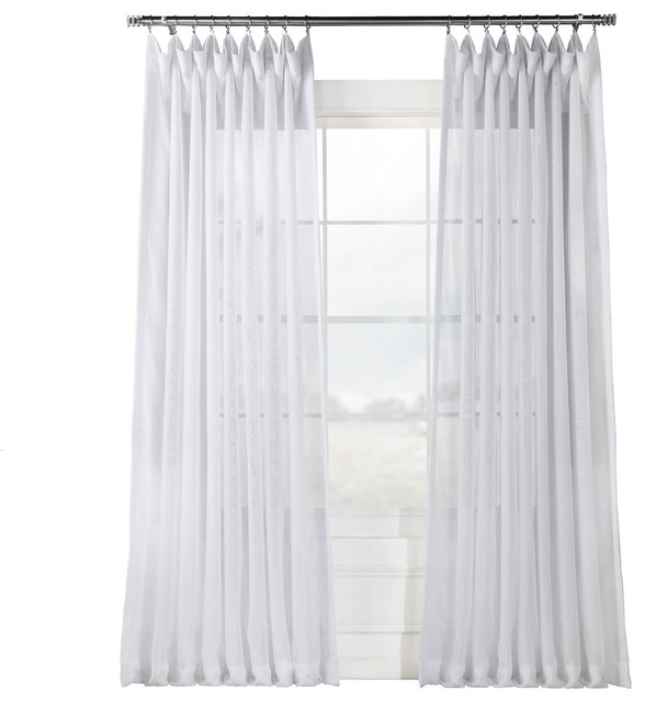 Signature Double Wide White Sheer Curtain Single Panel Traditional Curtains By Half Price D