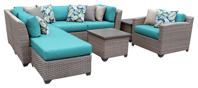 Catalina 08G Outdoor Wicker 8 Piece Patio Set, Blue Tropical Outdoor Lounge