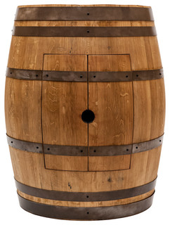 """Wine Barrel Vanity Package With 17"""" Oval Copper Sink, Natural Finish"""