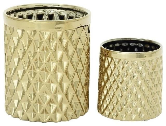 "ceramic kitchen utensil jar, 9"", 6"", 2-piece set - contemporary"