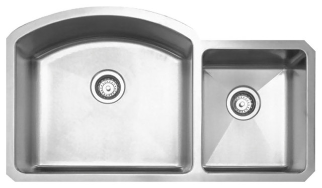 Noahs Collection Brushed Stainless Steel Double Bowl Sink.