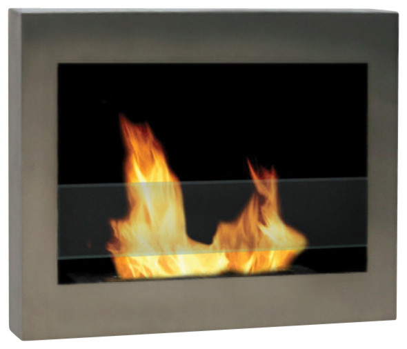 """Anywhere Fireplace Soho Stainless Wall Mount Fireplace 27.5""""."""
