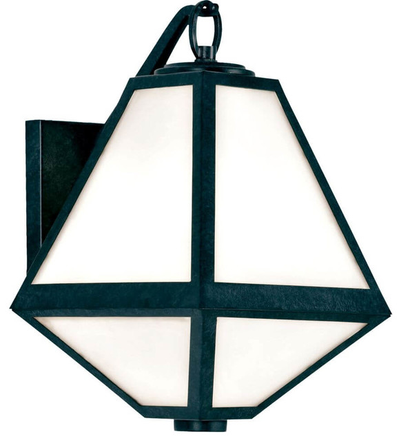 Glacier 1 Light Outdoor Wall Sconce In Black Charcoal.