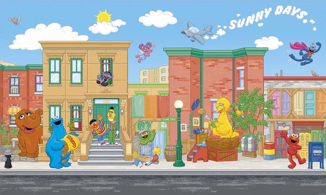 Sesame Street Elmo Big Bird Giant Wallpaper Accent Mural