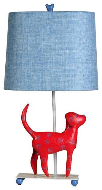 Stylecraft L11084DS Mini Iron Dog Lamp, (Red Dog, Blue Shade)