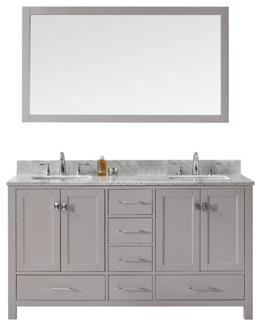 "Caroline Avenue 60"" Double Bathroom Vanity, Cashmere Gray With Marble Top."