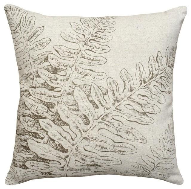 Fern Hand-Printed Linen Pillow, Gray.