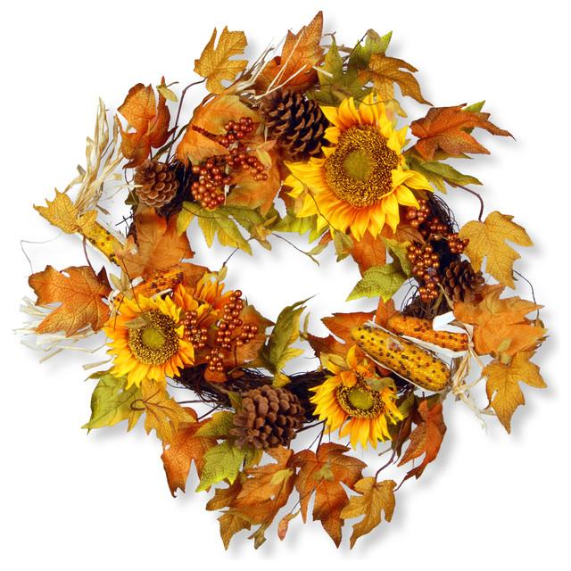 """Autumn Sunflower Wreath, 24""""."""