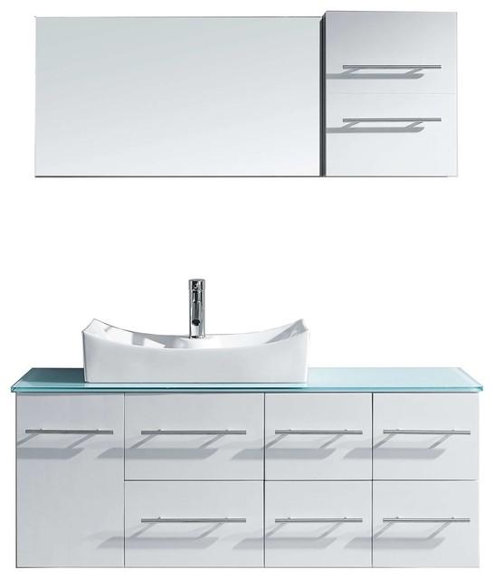 "Ceanna 55"" Single Bathroom Vanity Cabinet Set, White."