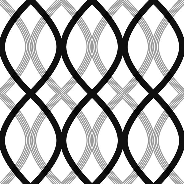 Contour Black Geometric Lattice Wallpaper - Contemporary - Wallpaper ...