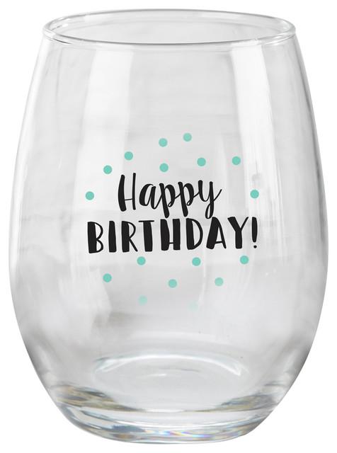 0f1c95f5f7a Happy Birthday 15 oz. Stemless Wine Glass, Set of 4