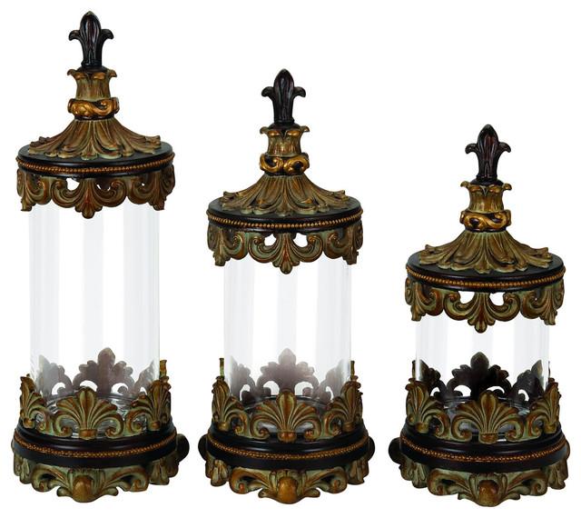 Urban Designs Fleur De Lis 3 Piece Glass Cylinder Canister