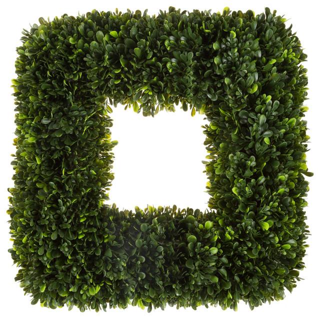 """Pure Garden 17"""" Uv Resistant Square Tea Leaf Wreath."""