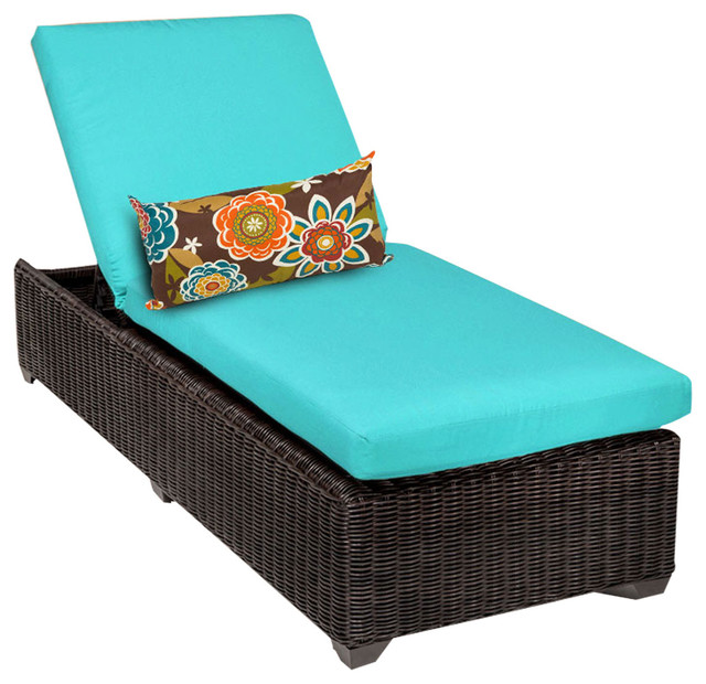 Exceptional Rustico Outdoor Wicker Chaise, Blue, Single Chaise Tropical Outdoor Chaise  Lounges