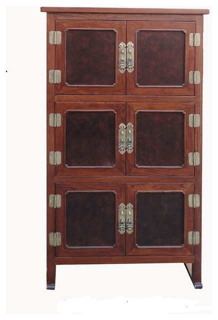 Exceptional Tall Korean Burl Wood Inlay Multiple Shelves Storage Cabinet  Asian Accent Chests And
