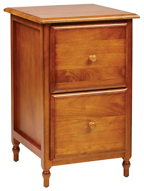 ZFurniture OSP Designs Knob Hill File Cabinet, Antique Cherry Finish - Filing Cabinets | Houzz