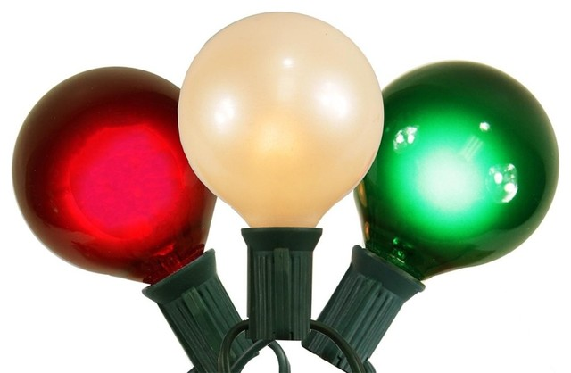 Red, White And Green Satin G50 15-Globe Christmas Lights, Green Wire.