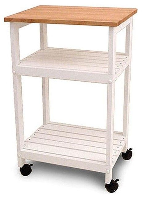 White Kitchen Microwave Cart With Butcher Block Top And Locking Casters.