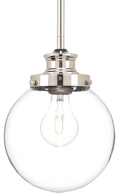 clear glass globe pendant polished nickel small lighting - Globe Pendant Light