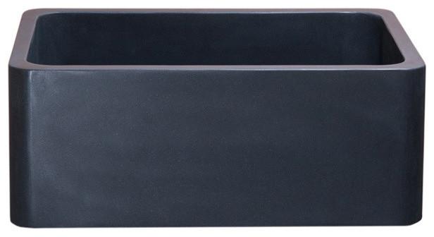 """24"""" Kitchen Farm Sink, Reversible Front, Black Lava."""
