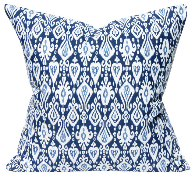 Blue And White Outdoor Ikat Pillow Cover 19x19 Mediterranean