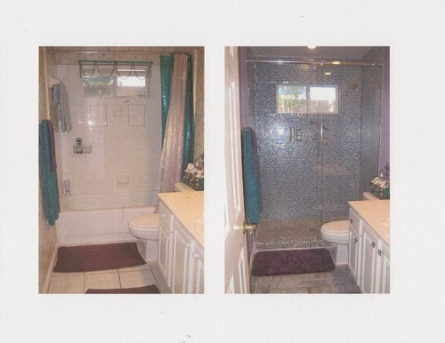 tile around tub shower combo.  tiles around large dated mirror in this bath fist couple of pics Loved them so much decided to do the whole shower with Bath re tub combo only glass