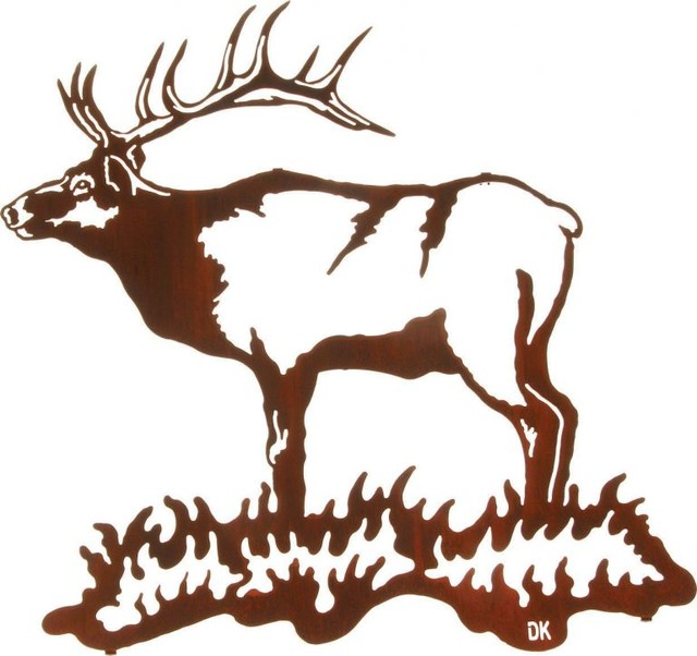 "Rustic Metal Wall Art bull elk majesty rustic metal wall art 24"" - rustic - artwork -"