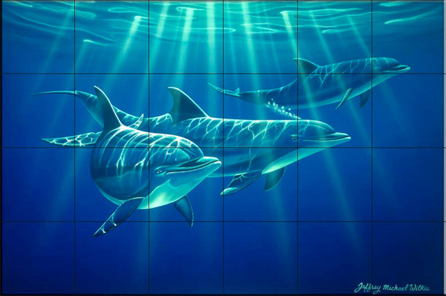 Tile mural dolphin trio by jeff wilkie beach style for Dolphin tile mural