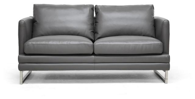 dakota pewter gray leather modern loveseat