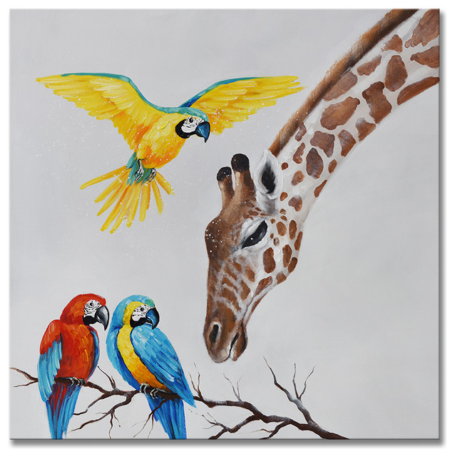 100 Hand Painted Oil Painting Animal Artwork Giraffe Birds