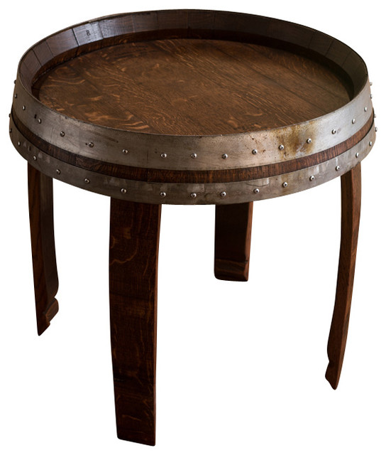 banded wine barrel side table 22u0026quot tall.