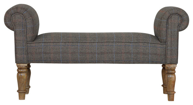 Bench With Multi Tweed Turned Legs, Oak Finish Mango Wood