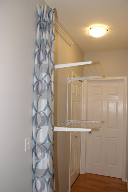Hidden Clothes Line Contemporary Laundry Room Calgary