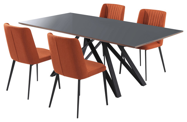 Arles Contemporary Grey Glass 5 Piece Metal Dining Set