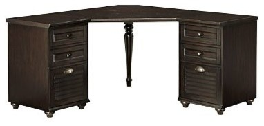 Whitney Corner Desk Set, 1 Desktop & 2 3-Drawer File Cabinet, Heritage Espresso - Traditional ...