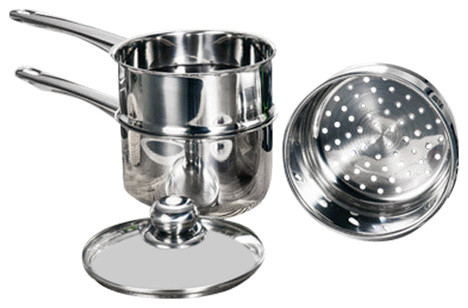 4-Piece Stainless Steel Steamer And Boiler Set.