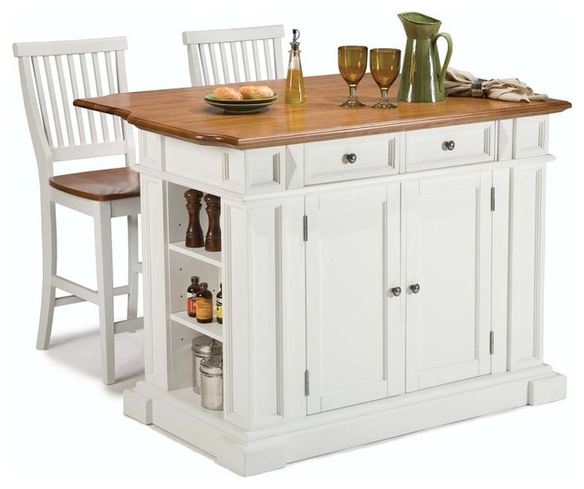 Kitchen Island And Stools White And Distressed Oak - Traditional