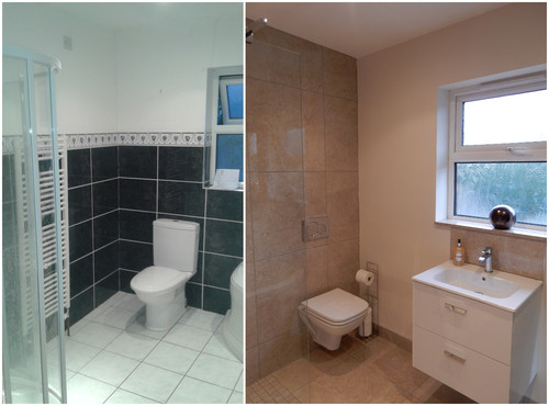 Minimalist modern bathroom before and after for Minimalism before and after